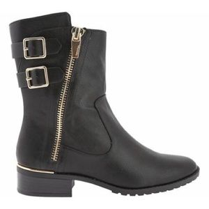 Calvin Klein black leather rasa boot gold hardware
